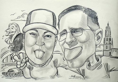 Couple wedding caricatures Singapore River Merlion Germany Noerdlingen Daniel Tower