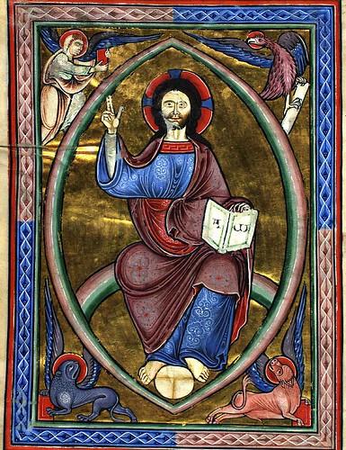 15 verso - Cristo en Majestad con los simbolos de los evangelistas