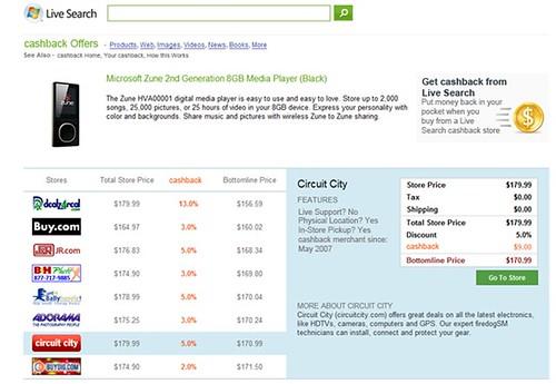 Product comparison page