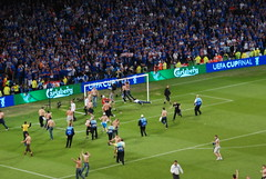 Uefa Cup Final 2008 pitch invasion (George M. Groutas) Tags: uk greatbritain england manchester scotland football unitedkingdom russia stadium soccer pitch saintpetersburg 2008 rangers invasion uefa glascow teddybears rangersfc cityofmanchester  pitchinvasion scottishpremierleague gazprom  uefacupfinal  lightblues thegers capitalofthenorth  uefacupfinal2008 glascowrangers zenitsaintpetersburg  sinebelogolubye