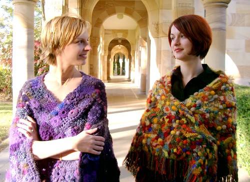 2 freeform crochet shawls