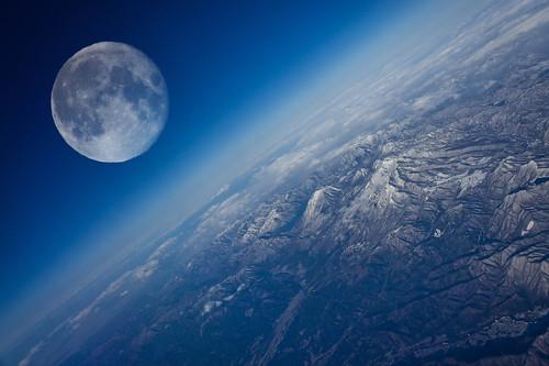 フリー写真素材, 自然・風景, 山, 月, ブルー,