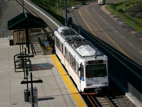 A Denver RTD Light rail train at the County Line Station.