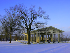 Swope Park (Canicuss) Tags: blue trees winter sunset snow nature photoshop landscape mo panasonic kansascity missouri kc swopepark fz7 bandpavillion canicuss