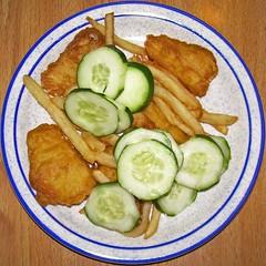 Fried fish, fries, cucumber