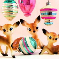 Vintage Deer & Ornaments (Picnic by Ellie) Tags: pink blue holiday green vintage reindeer stripes deer ornaments shinybrite