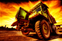 Dump Truck Fireblast (dfworks) Tags: construction duty dumptruck equipment heavy hdr 3xp photomatix sigma1020 superaplus aplusphoto