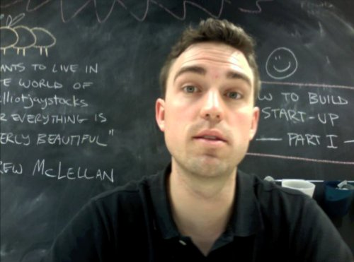 Ryan talking in front of the Carsonified Blackboard