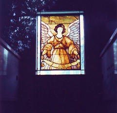 Heurich Mausoleum Stained Glass (Mr.TinDC) Tags: windows cemeteries beer washingtondc dc stainedglass angels scanned 1992 tombs mausoleums rockcreekcemetery heurich mausolea burialvaults beerbarons christianheurich heurichbeer louisamateis