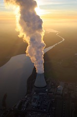 Nuclear power plants Isar 1 and Isar 2 (Aerial Photography) Tags: sunset sky by clouds river germany bavaria la stream risk aerial tele slot isar vapour reactor dampf nuclearpowerplant schlot akw khlturm ndb atomkraftwerk voralpenland ohu ottohahn cloudspotter isa1 halbwertszeit