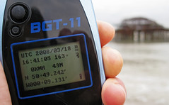 GPS at the West Pier (premasagar) Tags: sea beach coast pier brighton location westpier gps bluetooth geo latitude longitude handset thewestpier bgt11