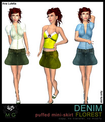 [MG fashion] DENIM puffed mini-skirt FLOREST