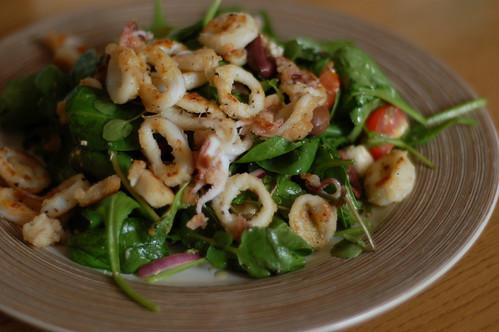 Salt, chilli and pepper squid salad