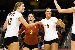 Diane Copenhagen, Alli Hillgren, and Jessica Gysin (Eric Wolfe) Tags: california usa college sports losangeles unitedstates celebration volleyball cheering universities usctrojans jessicagysin original:filename=200711161089jpg allihillgren dianecopenhagen