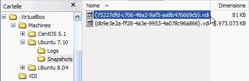 Fig 14 - VirtualBox snapshot - nuovo file vdi relativo a Snapshot 2