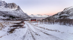 Mefjord Morn (RD241258) Tags: norway senja arctic snow mountains road building structure landscape winter dawn sunrise hills cold ice grass trees shrubs bushes mefjordbotn mefjord