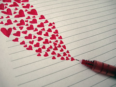 Till these hearts keep flowing, my love for you will keep growing. (explored) (.neha.) Tags: red love pen notebook hearts flow heart flowing