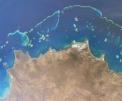 Great Barrier Reef vanuit de ruimte (WereldWonderen) Tags: greatbarrierreef australie natuurwonder