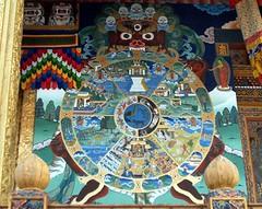 Wheel of life. Bhavacakra. (Linda DV) Tags: travel painting geotagged mural bhutan buddhism mandala himalaya fresco wallpainting wheeloflife symbolism 2007 muurschildering punakha peinturemurale dharmacakra bhavacakra pungthangdechendzong buddhistsymbols lindadevolder