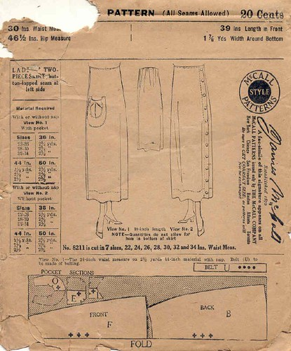 Skirt pattern from the 20's