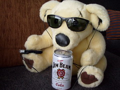 Ted E Bare sipping Jim Beam (missysplace_1999) Tags: ted out pie funny time bare coke jim beam e custard puking