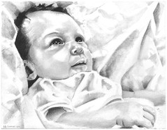 Graphite portrait of a friend's new baby entitled Maya