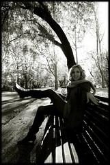 Untitled #0046 (Mayastar) Tags: autumn portrait bw girl bench milano simo longlegs parcolambro bwdreams mywinners eyecandyart mayastar mayastarphotography simonettalenna