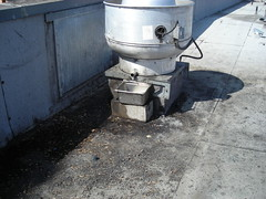 Grease contamination from an exhaust fan unit.