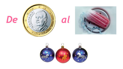 De + una moneda con Juan Carlos I + al + un tampax usado + unas bolas de navidad