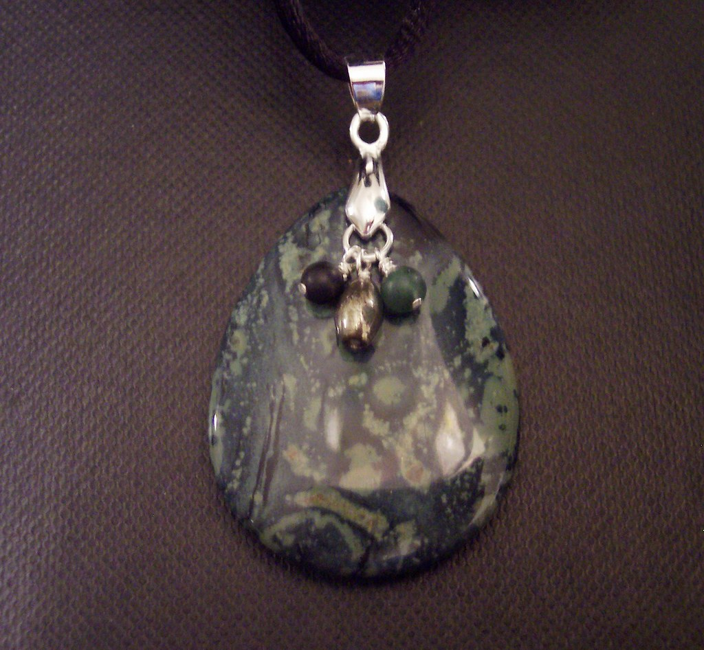 Kambaba Jasper Dangle Cord Pendant Necklace