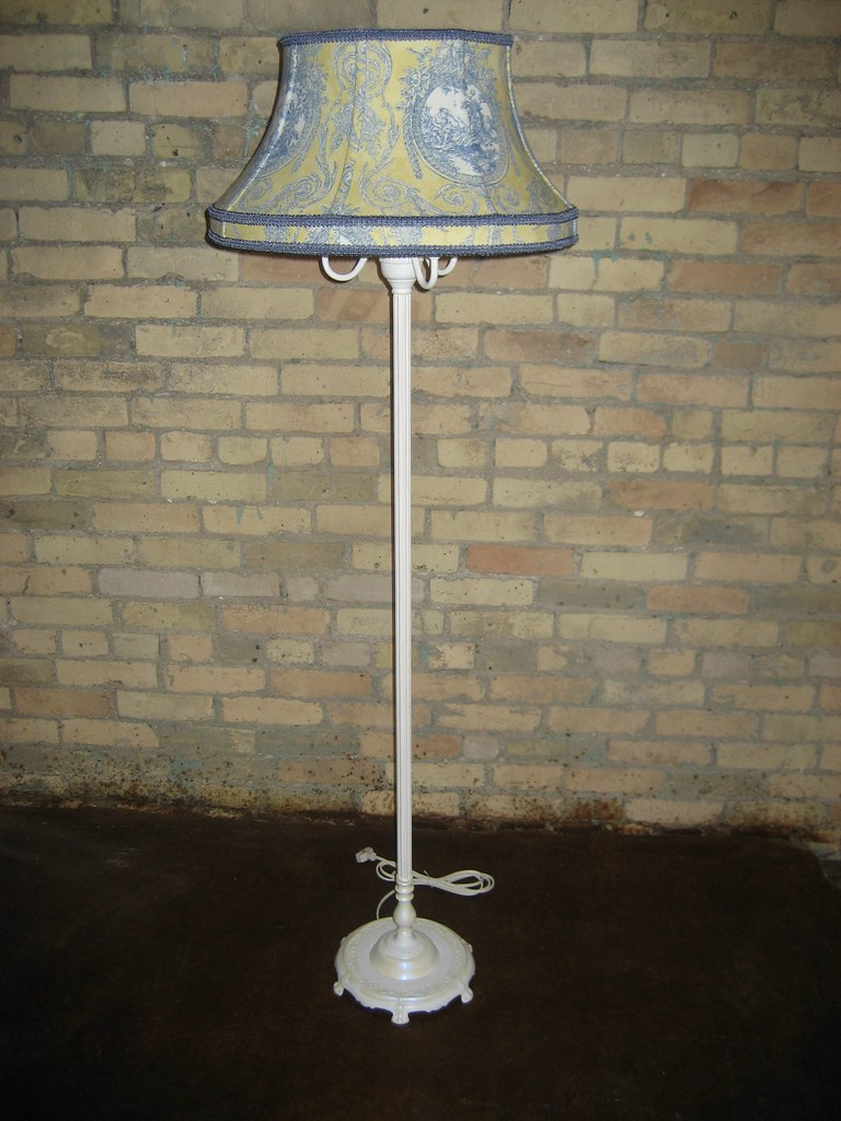 Yellow and Blue Toile Floor Lamp