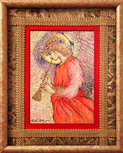 Angel Playing a Flageolet (drawing after Sir Edward Burne-Jones) and Pre-Raphaelite Angels (poem)