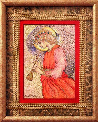 Angel Playing a Flageolet (drawing after Sir Edward Burne-Jones) and Pre-Raphaelite Angels (poem)