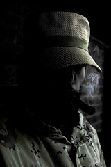 self portrait with a cigar (Christopher Wallace) Tags: chris portrait selfportrait me hat self myself beard nikon d70s camo castro fidel disguise trick mustache camoflage fidelcastro militaryfatigue desertstormjacket iamthemasterofdisguises
