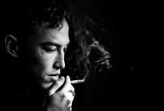 Waiting for the Miracle (TGKW) Tags: boy portrait people blackandwhite man self glasgow cigarette smoke smoking scar