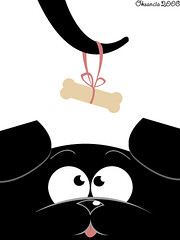 Puppy and his bone (Oksancia) Tags: dog black cute illustration digital computer puppy design graphics funny cartoon want friendly bone vector