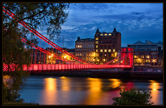 The Clyde Suspension Footbridge (Alistair_Images) Tags: longexposure bridge night canon river lights scotland clyde nightshot suspension glasgow illumination 40d