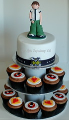 Ben 10 Cupcake Tower (TheLittleCupcakery) Tags: birthday cake little ben 10 watch aliens tlc cupcakery fourarms heatblast xirj klairescupcakes