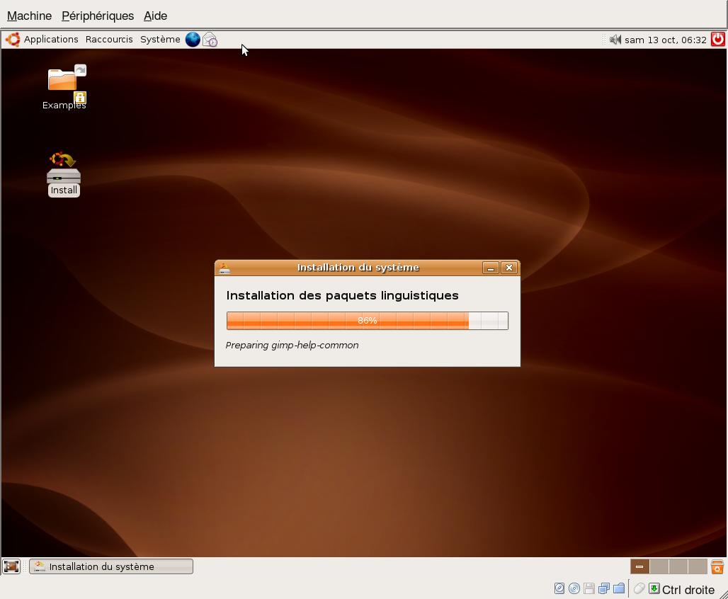 installation graphique d'une ubuntu 6.06 LTS