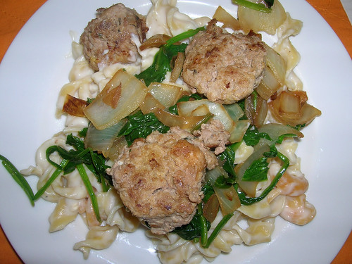 Spinach Alfredo with Meatballs