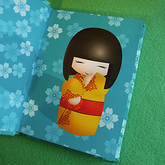 Notebook inside (365, Day4) (Eskimimi) Tags: cute yellow japan paper notebook japanese wooden doll dolls teal journal read maiko geisha kawaii kimono stationery kokeshi giggling
