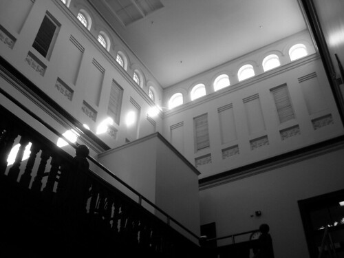 black and white courthouse interior