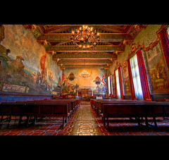 The Mural Room (Candice, AKA Bessie Smith) Tags: california windows light fab santabarbara photoshop painting mural room stage murals wideangle chandeliers courthouse benches dias soe hdr jesters lightroom 3xp photomatix august12 supershot tonemapping amazingtalent top20hdr muralroom photo365 platinumphoto anawesomeshot aplusphoto wowiekazowie diamondclassphotographer flickrdiamond platinumheartaward photo365224 muralismaw stunningphotogpin
