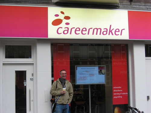 Tom Musbach outside career agency in The Netherlands.