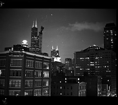 sears from wabash (wvallen) Tags: bw chicago night mediumformat asa400 ilfordhp5plus chicagoist mamiya6451000s 80mmf19 ilfords