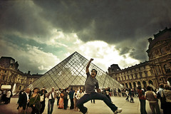 Vive la France! (Victoriano) Tags: travel sky cloud paris france travelling glass fashion architecture wow french happy jumping colours pyramid cloudy louvre davinci frenchrevolution society victoriano skybroken society1 flogr theskyisbroken