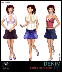 [MG fashion] DENIM puffed mini-skirt SKY