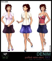 [MG fashion] DENIM puffed mini-skirt SKY