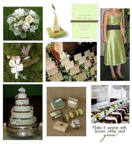 Brown, white and green wedding
