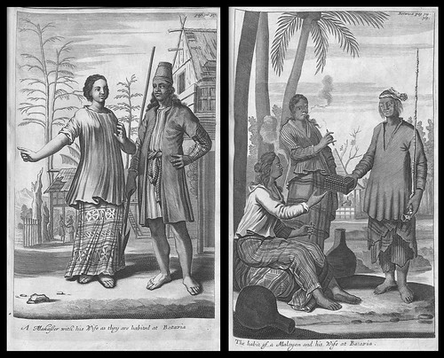 A Makasser with his Wife as they are Habited at Batavia AND The Habit of a Malayan and his Wife at Batavia